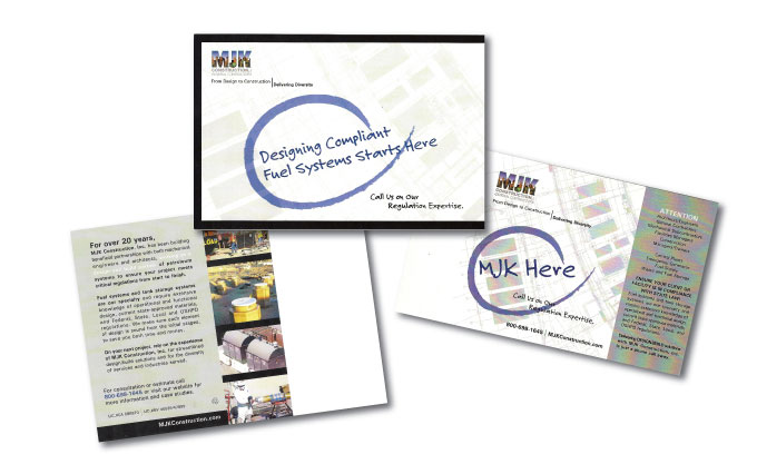 mjk construction direct mail postcards from perry design and advertising - image