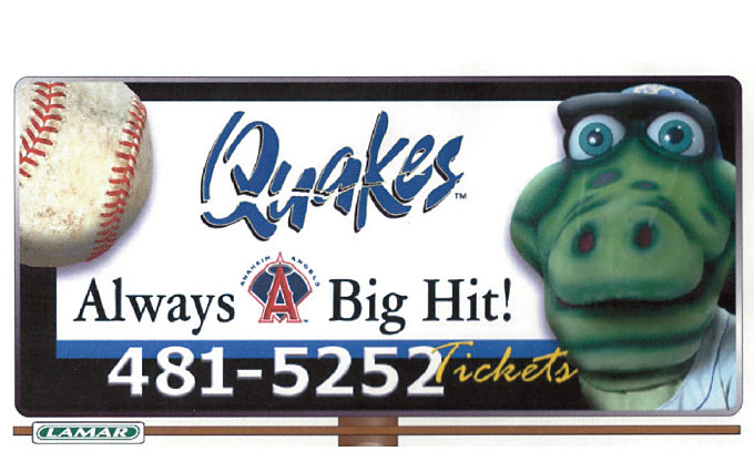 quakes baseball in rancho cucamonga outdoor billboard in the inland empire from perry design and advertising - image
