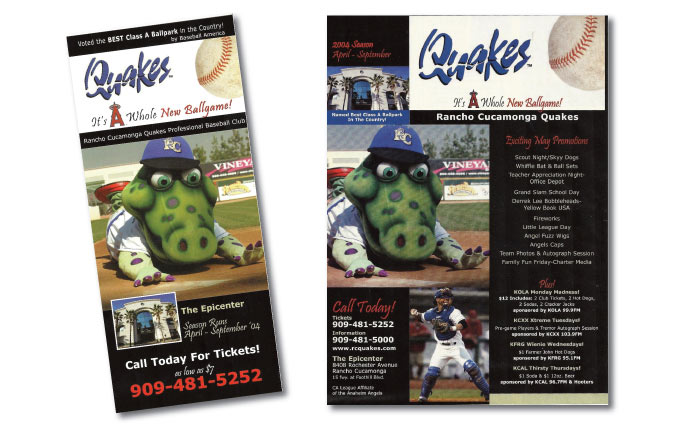 quakes baseball in rancho cucamonga door hanger and print ad in inland empire magazine from perry design and advertising - image