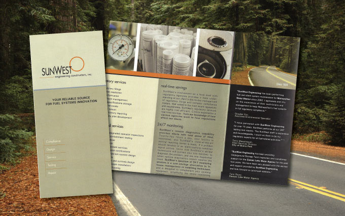 sun west engineering in chino california brochure from perry design and advertising - image