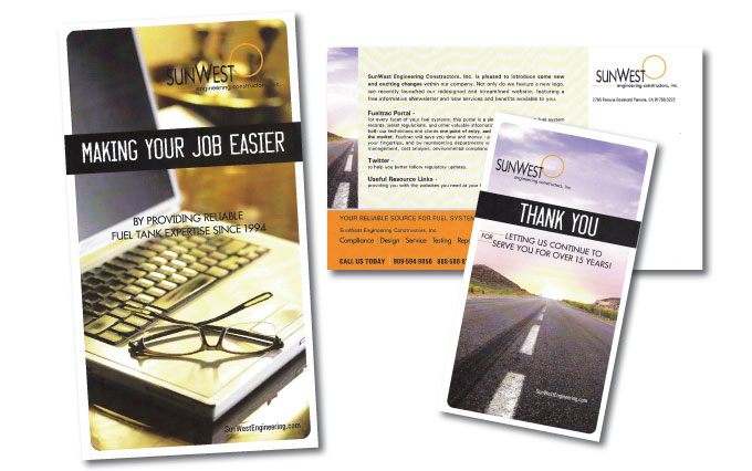 sun west engineering in chino california postcards from perry design and advertising - image